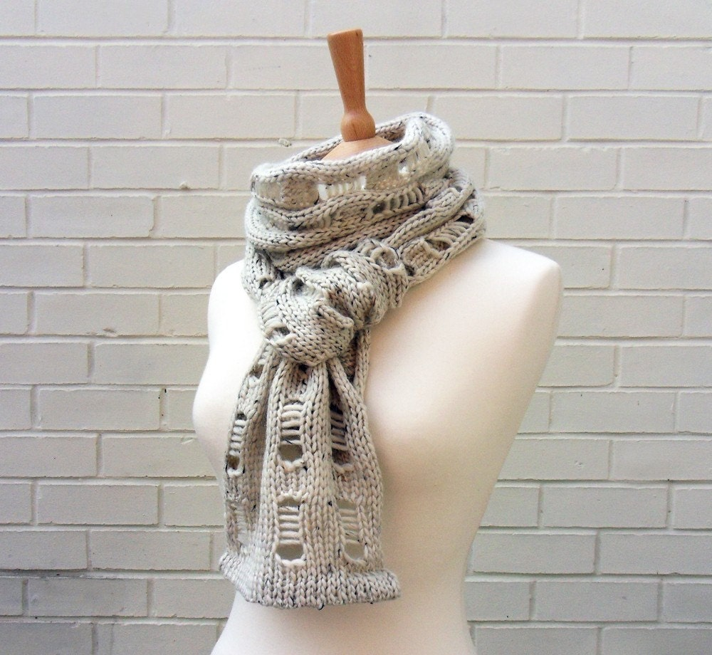 Chunky Soft Scarf Knitted with Hand Dyed Yarn