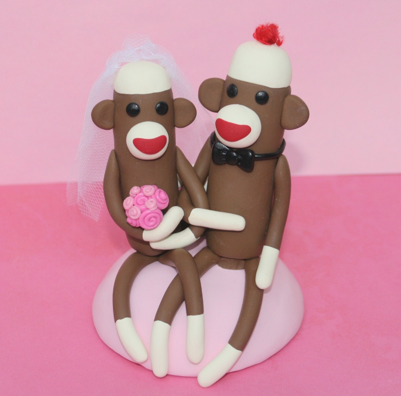 sock monkey wedding cake topper sitting 4 inch custom made in your