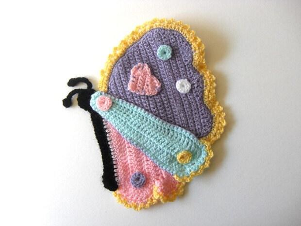 Pot Holder Happy Butterfly Decor Crochet Kitchen Room Girl Tutorial Aplique Heart - PDF Pattern