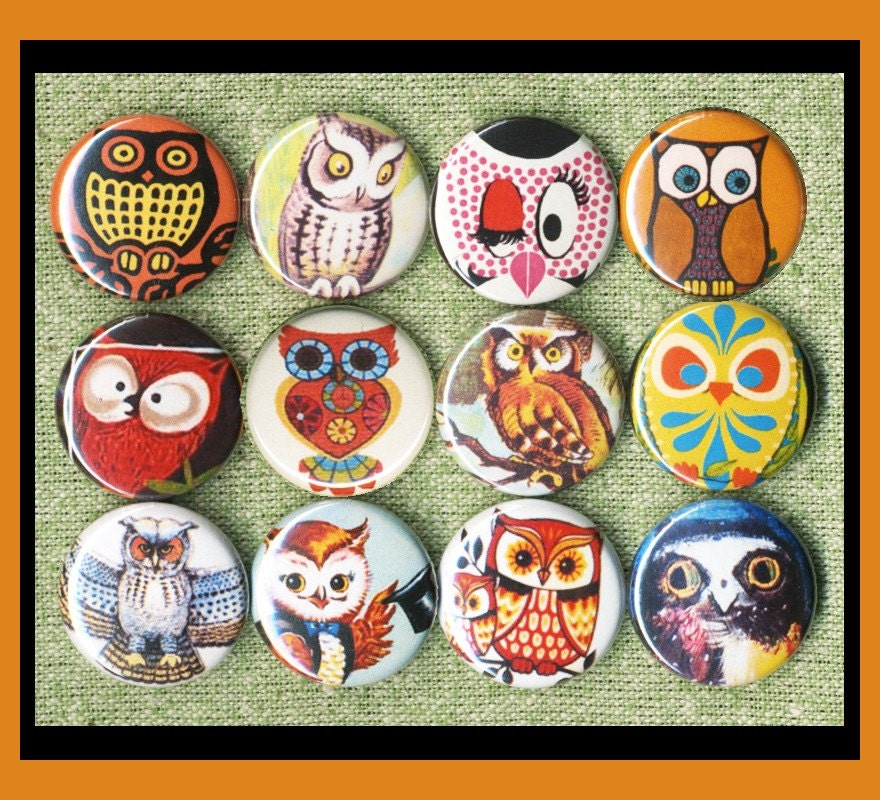 12 vintage owls 1 inch buttons or medallions or magnets SET B