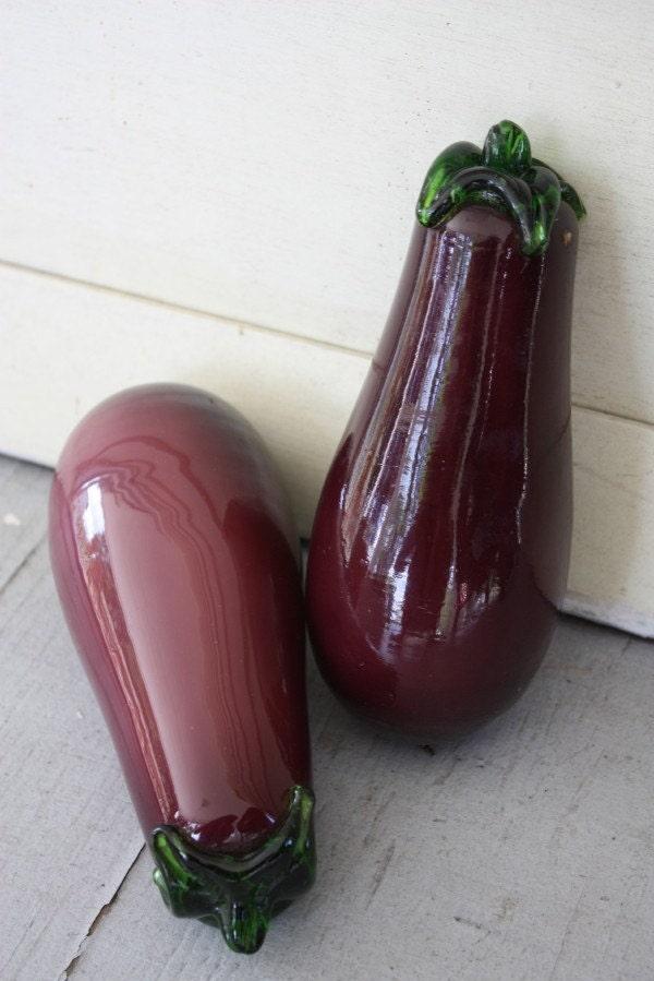 Vintage Glass Purple Egg Plant