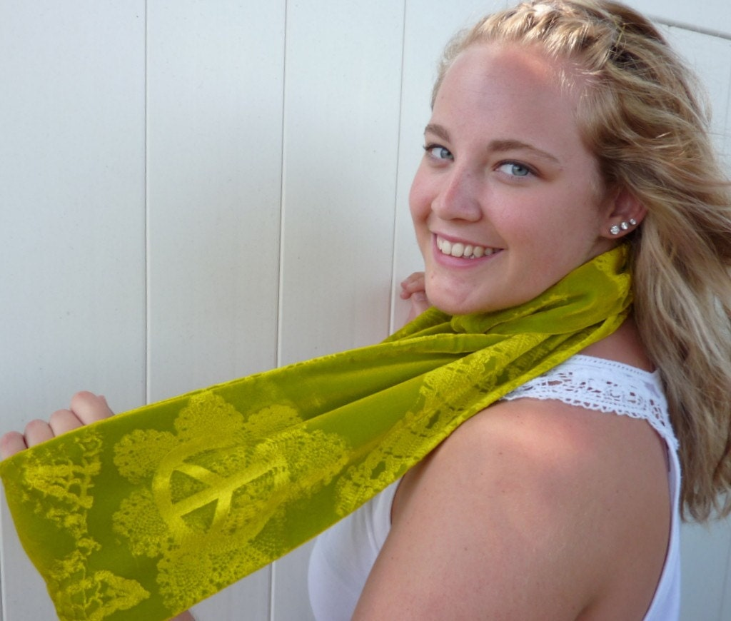 Velvet Scarf Circle Cowl Chartreuse Lime Green PEACE Sign Lace Embossed Custom by Velvet manna for Etsy