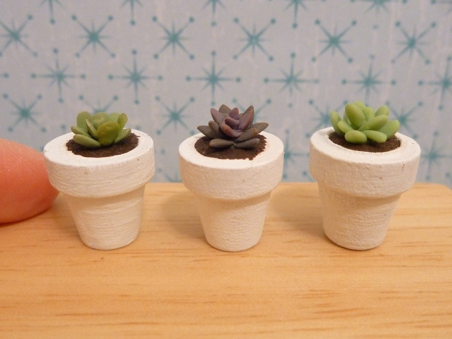 Miniature Dollhouse 3 Succulent Plant in a Pot - MinnieKitchen