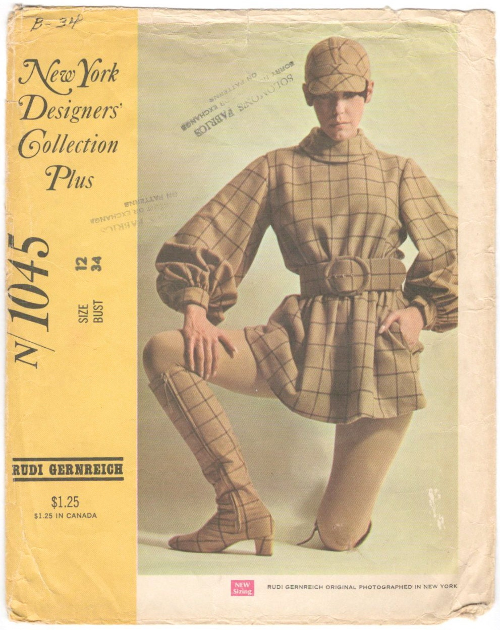 1960s Rudi Gernreich  windowpane check minidress with matching cap and boots modelled by Peggy Moffitt - McCall's 1045