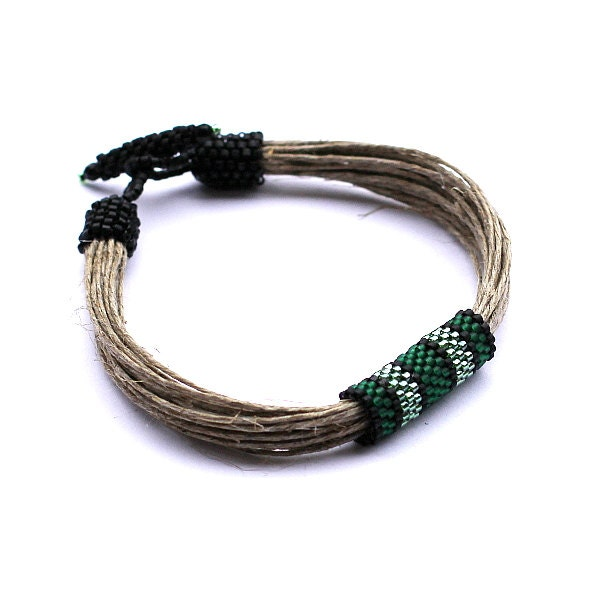 Beadwork men's bracelet - men's beaded bracelet - linen jewelry for men - organic jewelry - mens beaded bracelets - green and gray beads - Naryajewelry