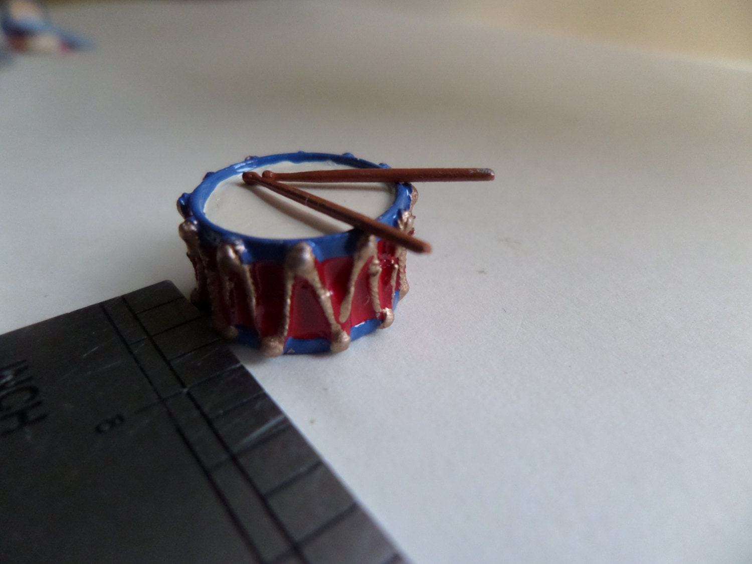112th Toy Drum and Sticks for the Dolls House Nursery