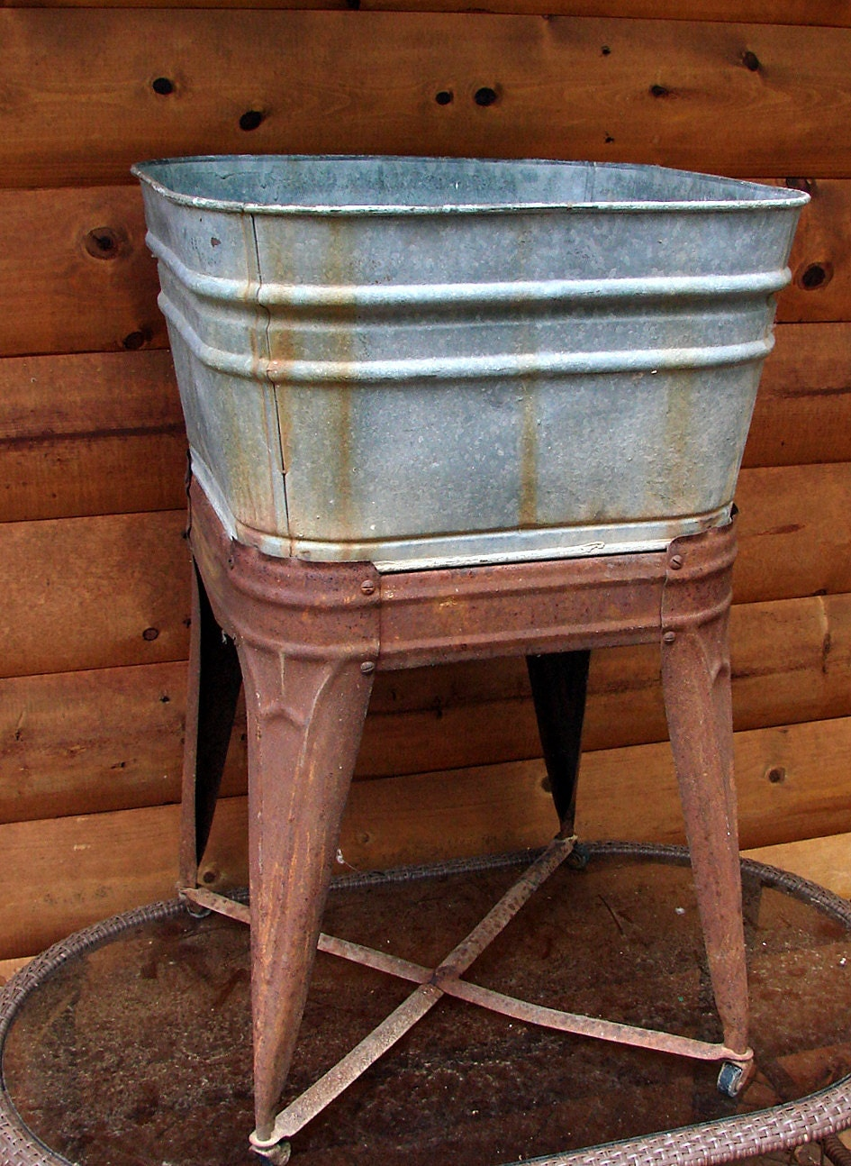 Wash Tub With Stand : Old Galvanized Wash Tub and Stand Straight From The by Rusticcreek