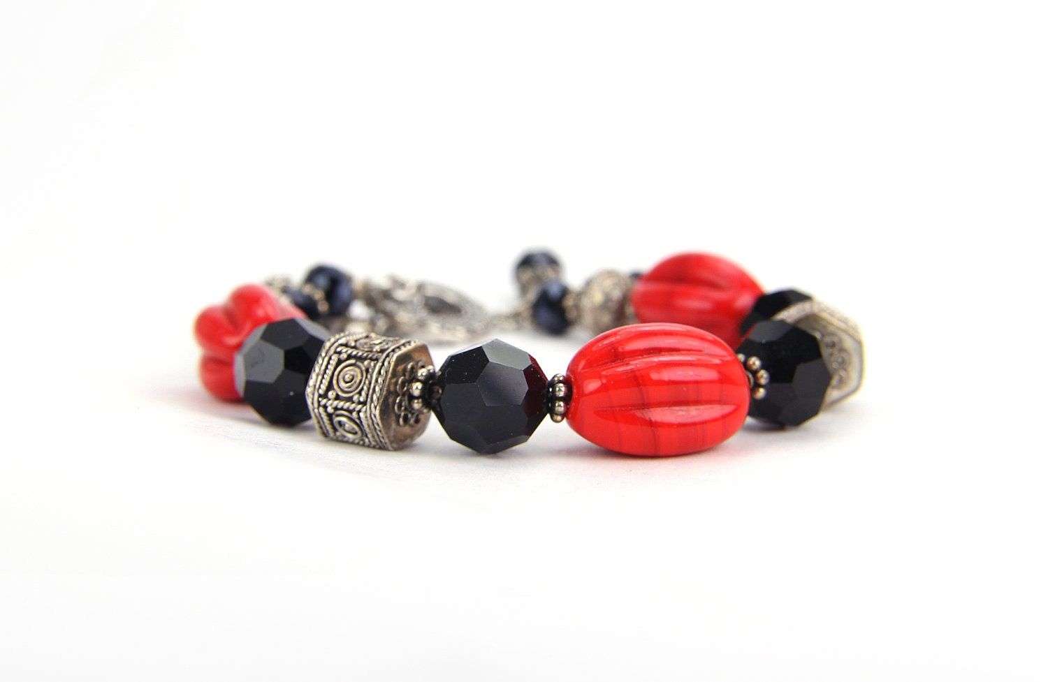 Red Black Sterling Silver and Swarovski Crystal Bracelet by the Bracelettree:  A Day in Shanghai