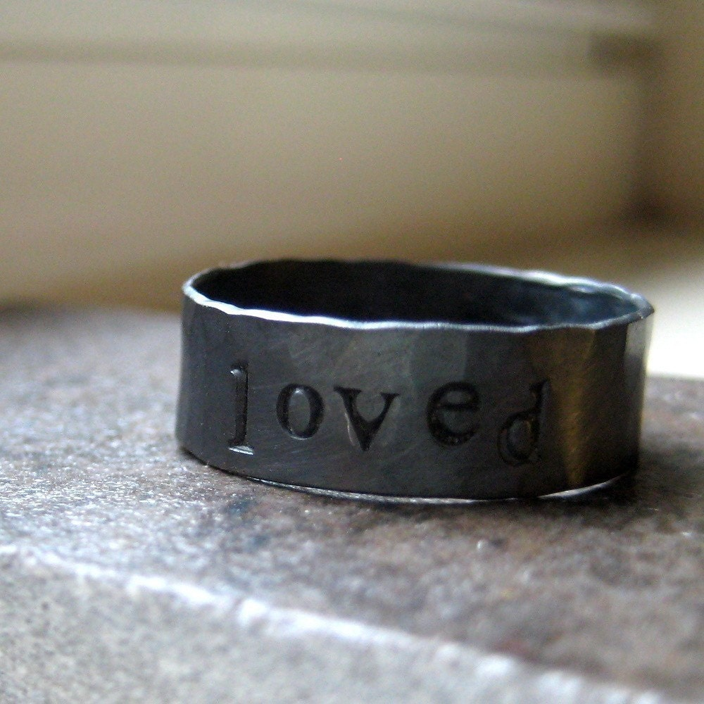 Rustic personalized sterling silver band - perfect groomsmen gift best man