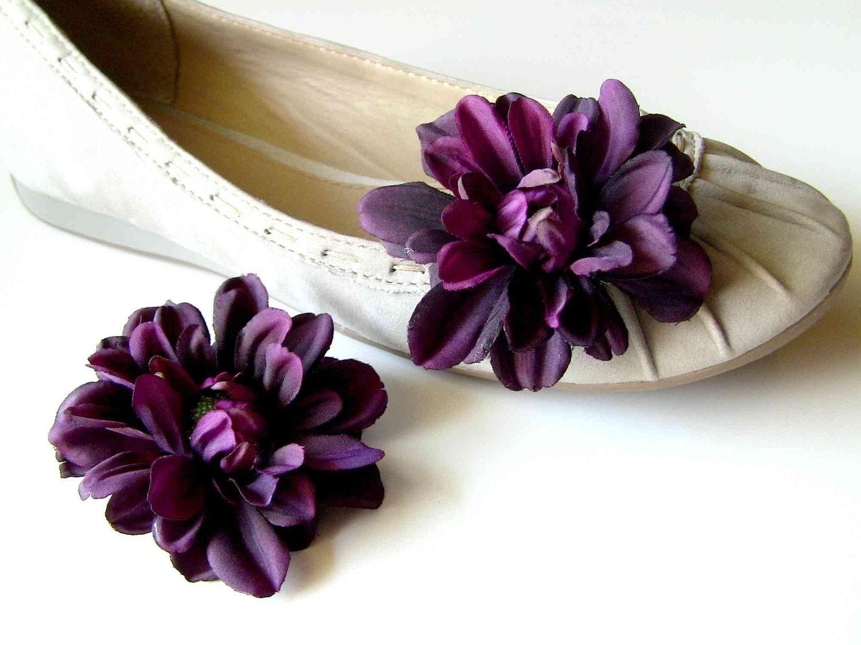 Purple Mums - Fabric Flower Shoe Clips