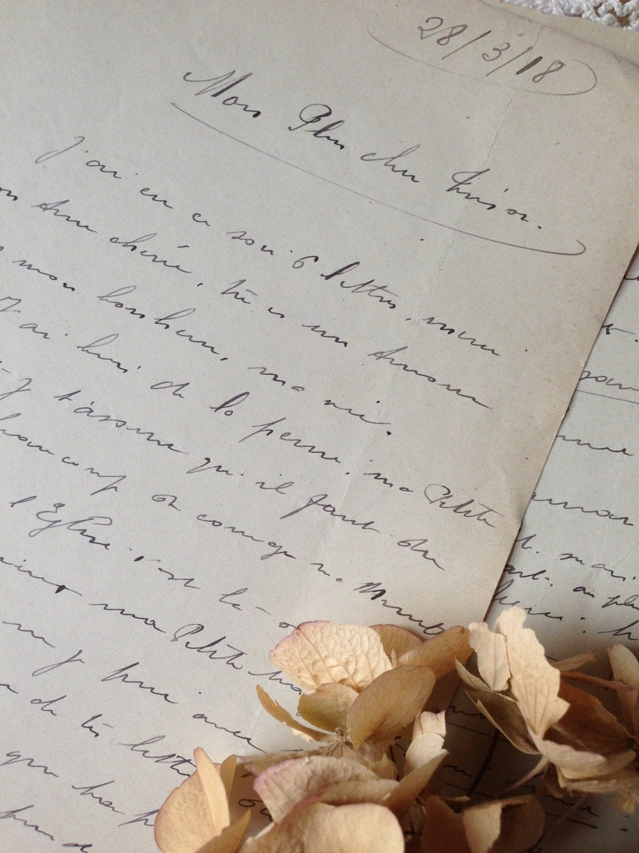 French Love Letter Handwritten Script 1918 By OhPardonMyFrench