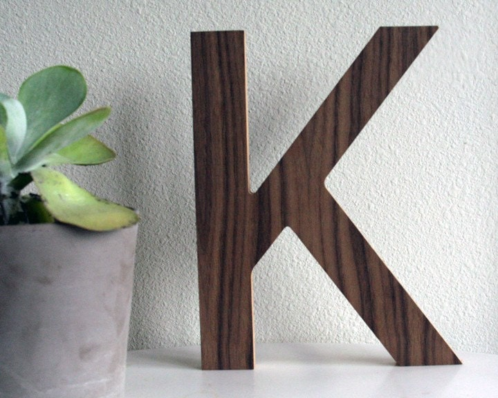 Retro/Modern Walnut Letter- K