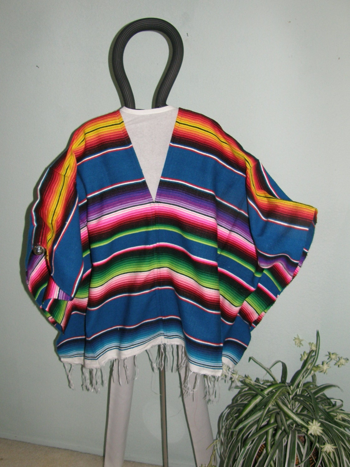 Blue Poncho made from Mexican Serape Blanket by ...