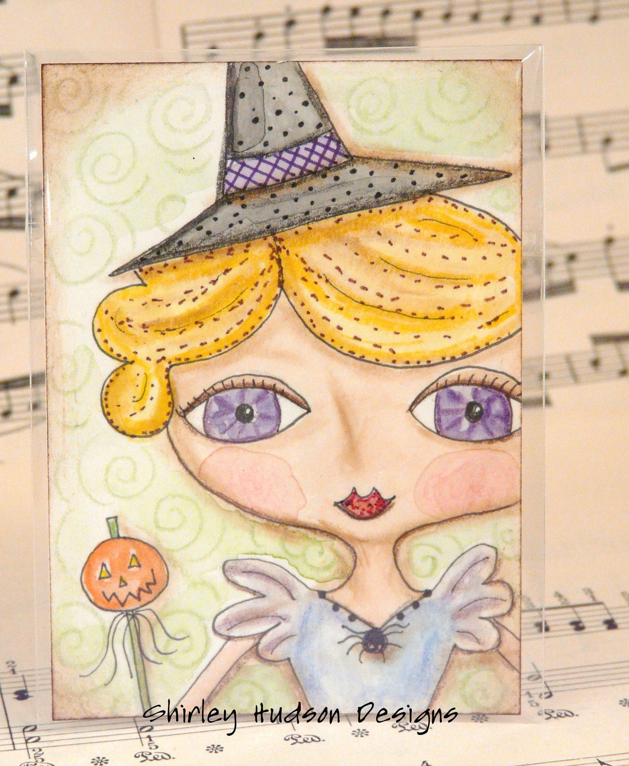 Sweet Halloween Witch Original ATC card - ACEO watercolor Pumpkin ink painting