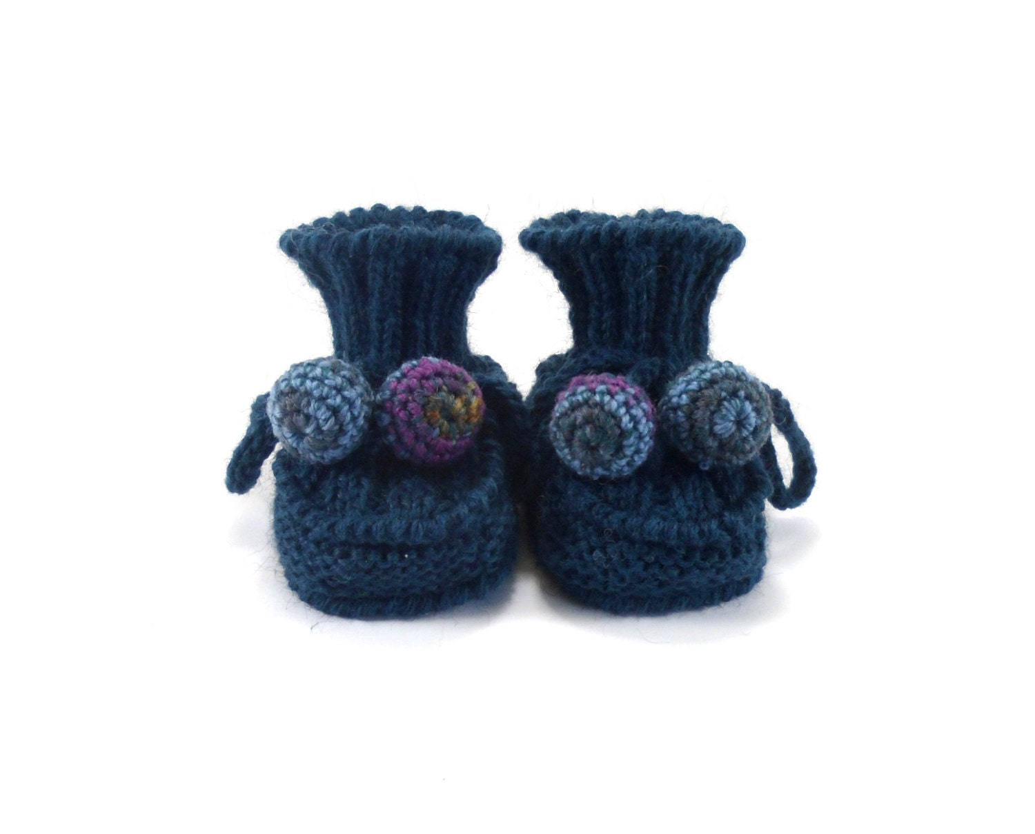 Knitted Baby Booties - Dark Teal, 0 - 3 months - SasasHandcrafts