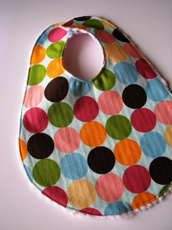 Reversible Chenille Baby Bib in Polka Dots
