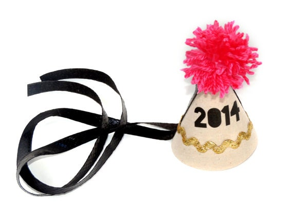 New Year's Party Hat in Hot Pink and Black '2014' - CarouselLane