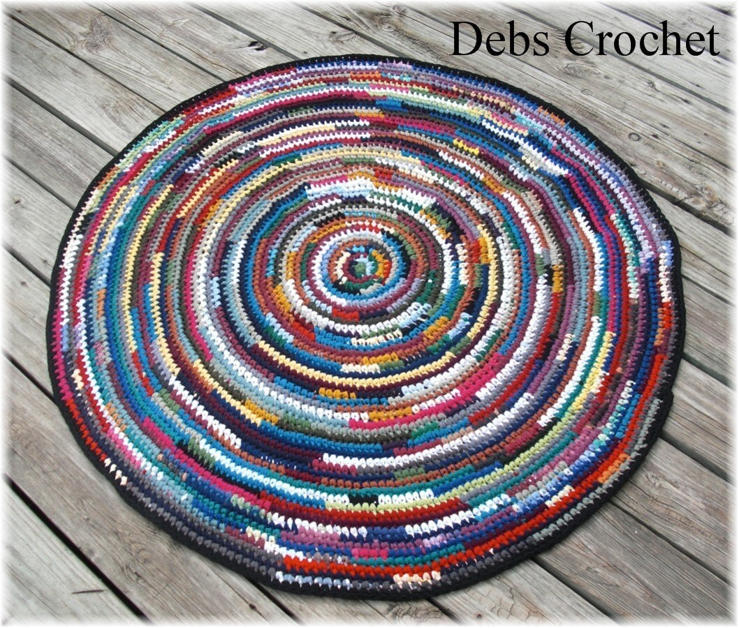 Rag Rug Large: Round Rag Rug Large 46 Inches Multi Color By DebbieCrochets