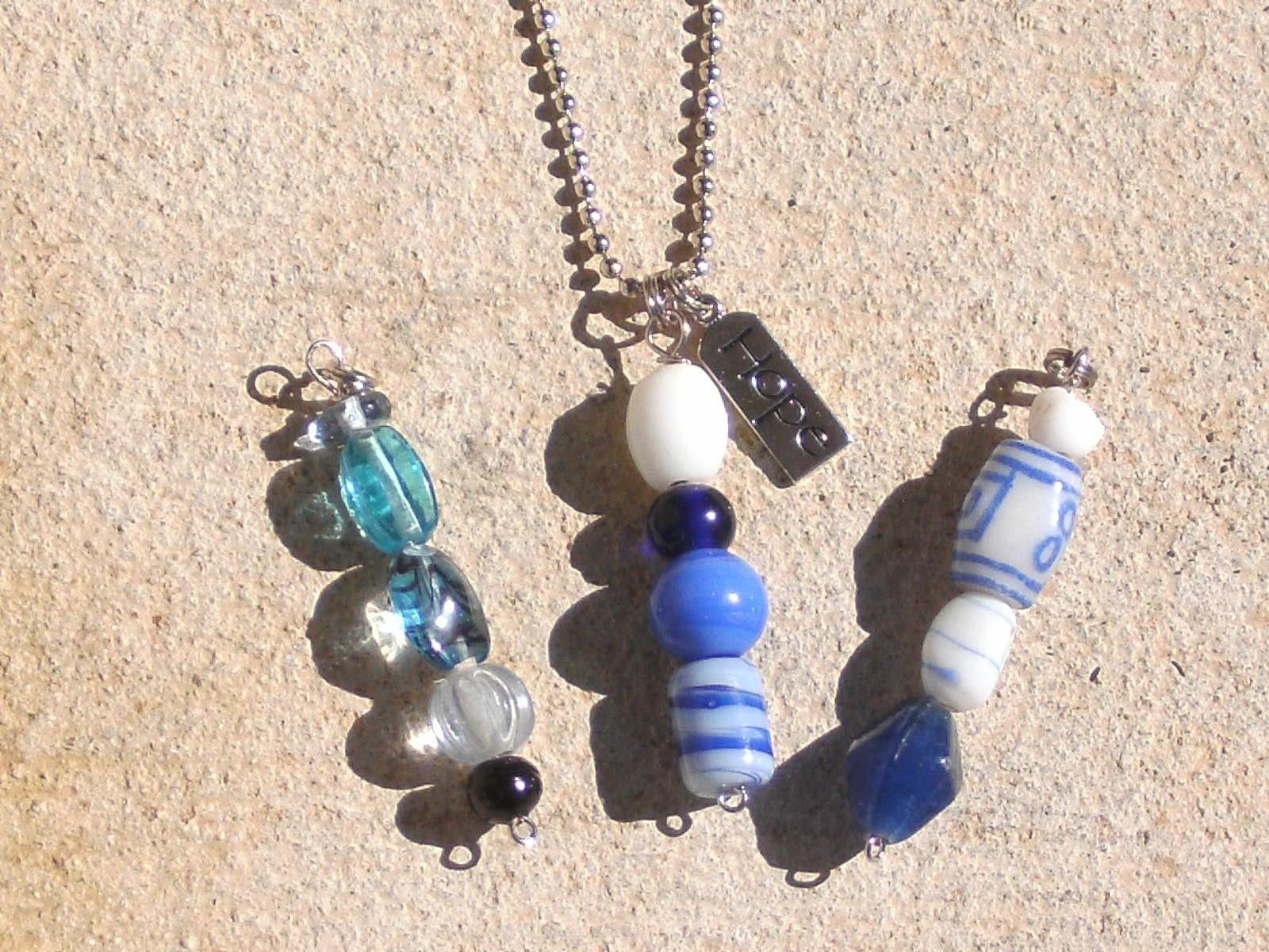Blue Glass Bead Pendant set w/HOPE silver charm