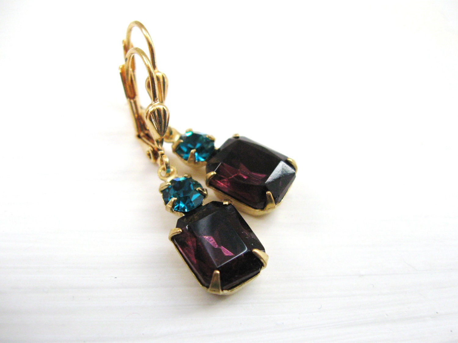 Violet and Teal Glass Jewels in Brass  - Estate Jewelry - Wedding Bridal Earrings