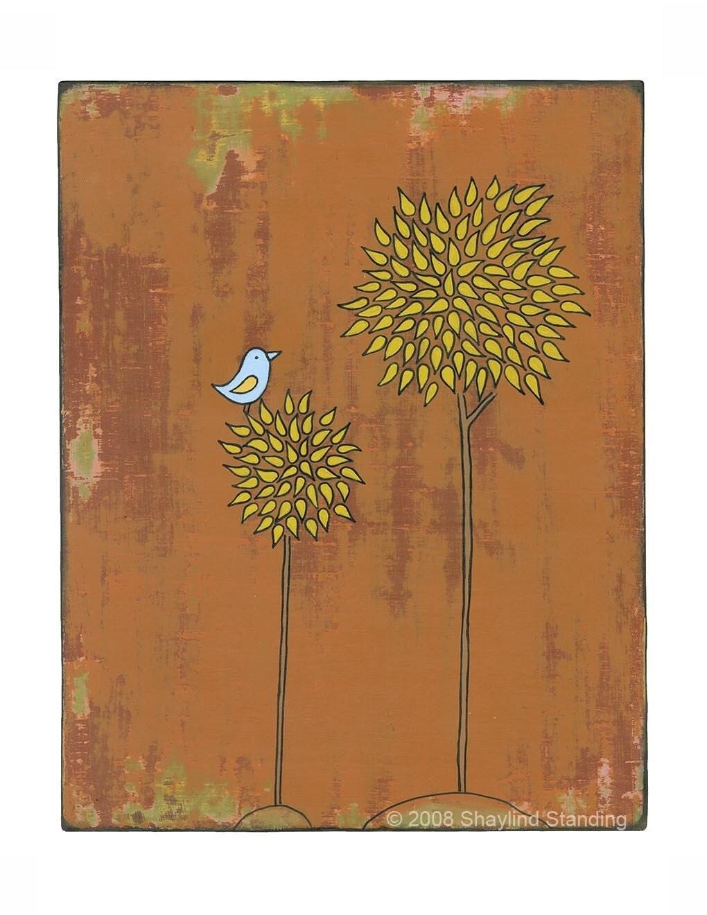 Yellow Tree and Bird Print