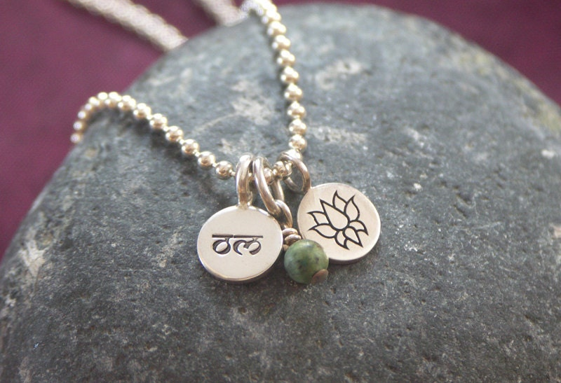 Tri. Cluster of three. Hand stamped sterling silver Om disc, lotus charm with a turquoise gemstone