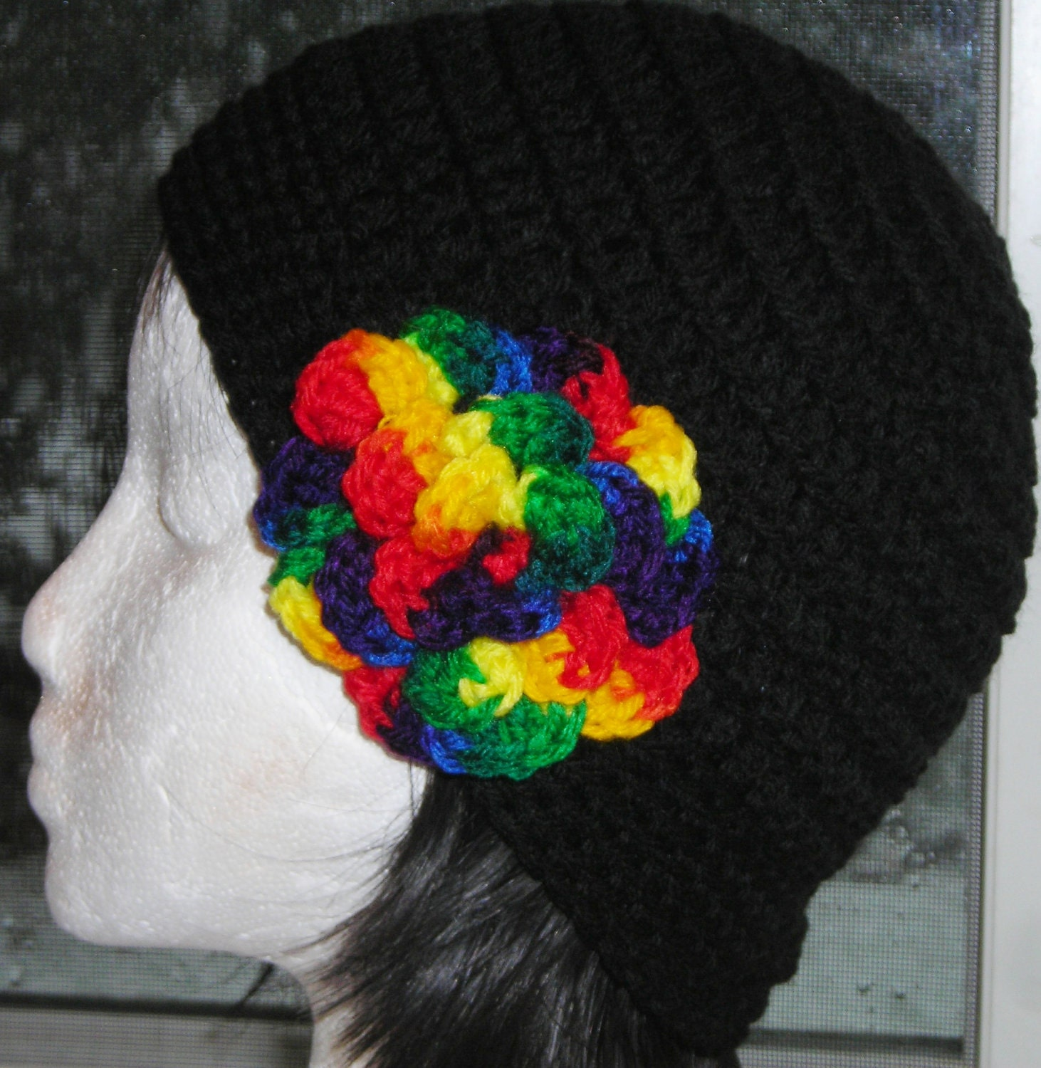 BLACK Beanie Cloche Crochet  Hat with attached Rainbow Flower