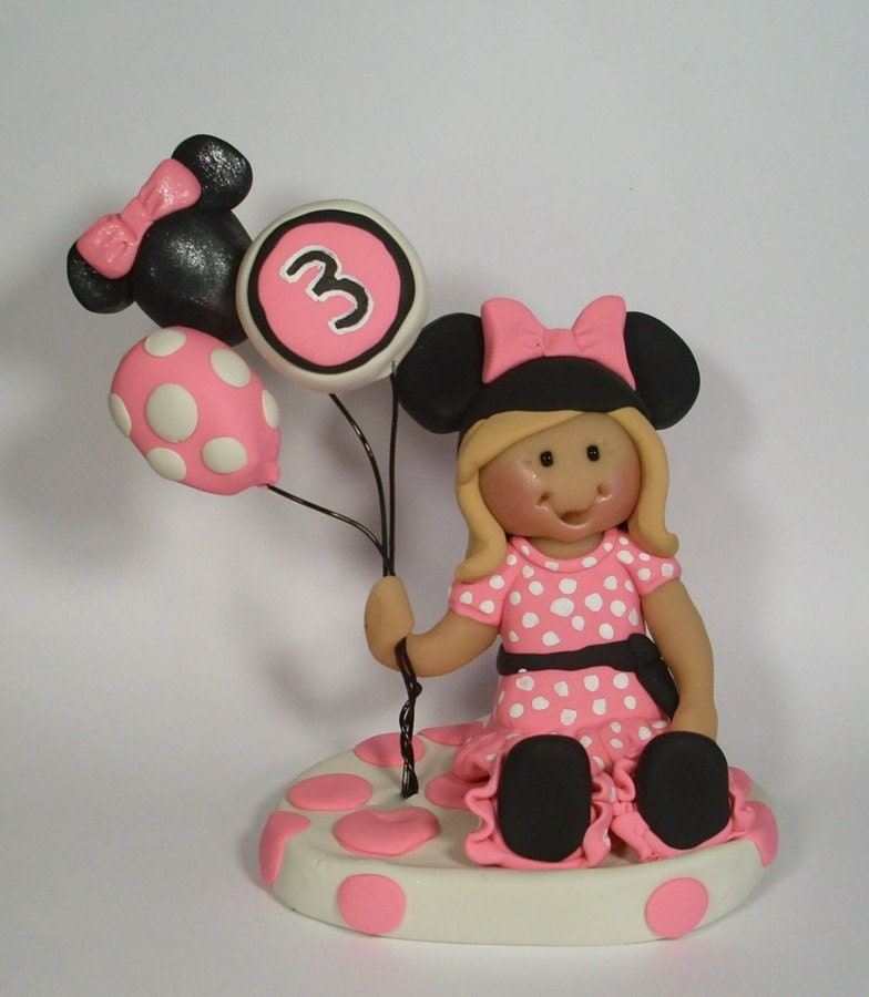 Minnie Mouse themed Birthday Cake Topper by gingerbabies on Etsy