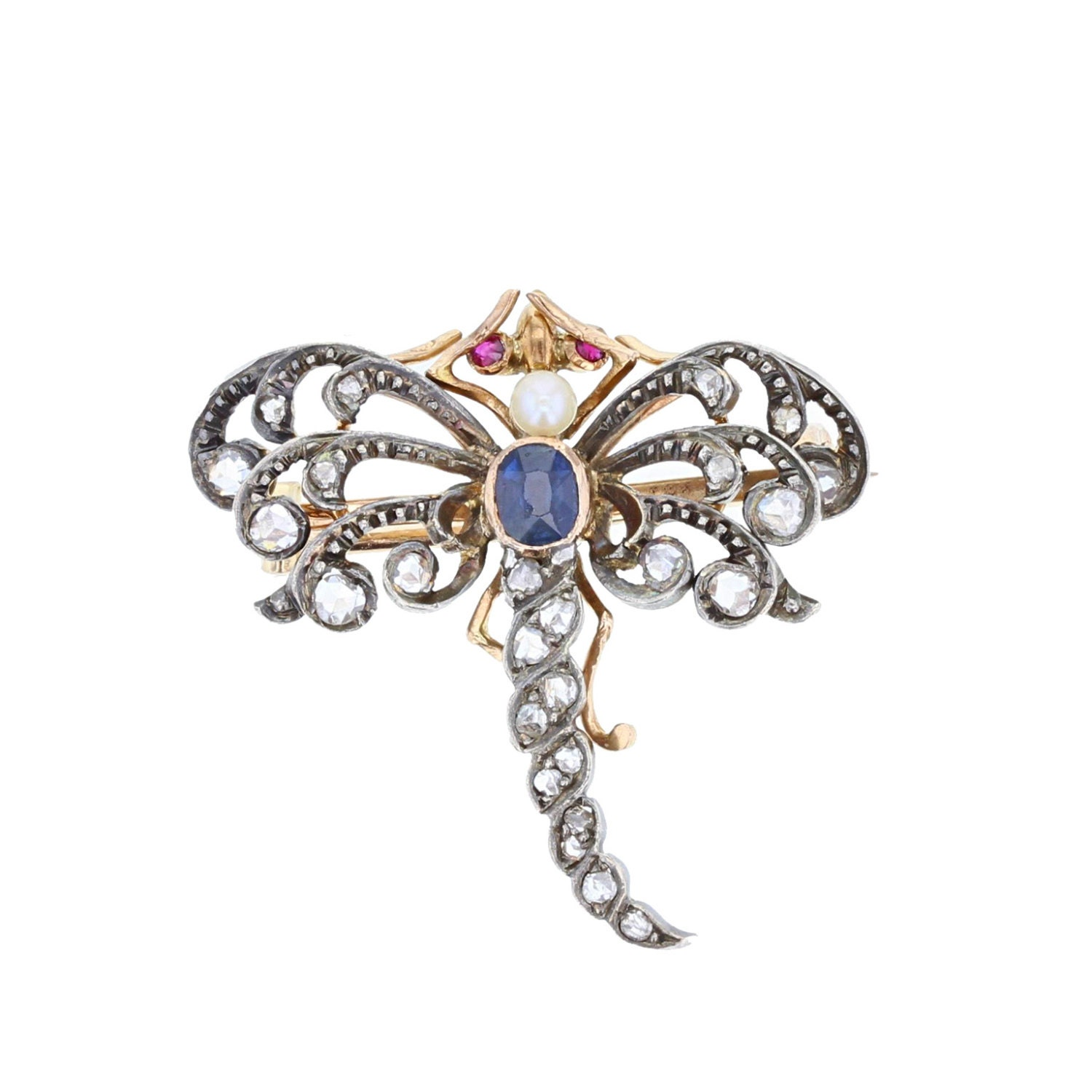 Antique Sapphire Pearl and Diamond Dragonfly Brooch