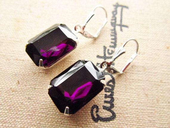 Vintage Earrings Estate Style Vintage Amethyst Rhinestone Earrings Deep Purple Jewels Wedding Bridesmaids Jewelry