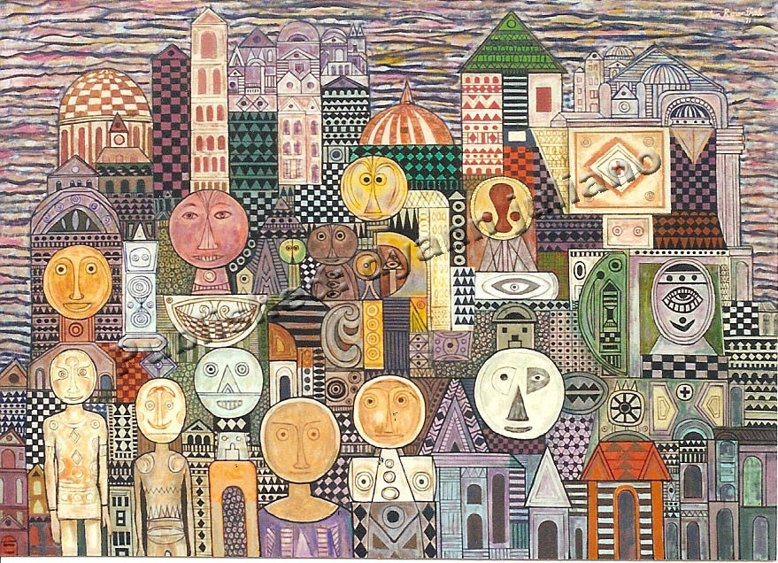MidCentury Painting by Martin Rosenthal CityScape of the FUTURE PEOPLE/ 1971/Visionary Oil on Canvas