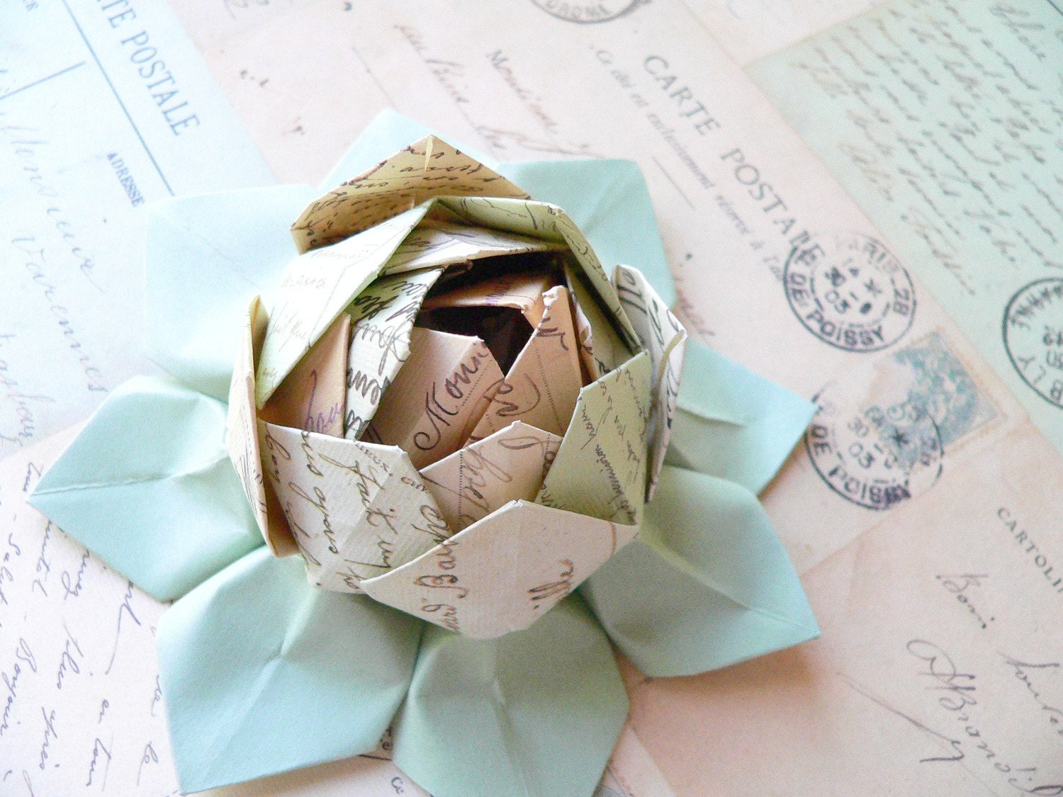 Origami Lotus Flower Decoration or Favor // made from fine Italian Cartes Postale paper