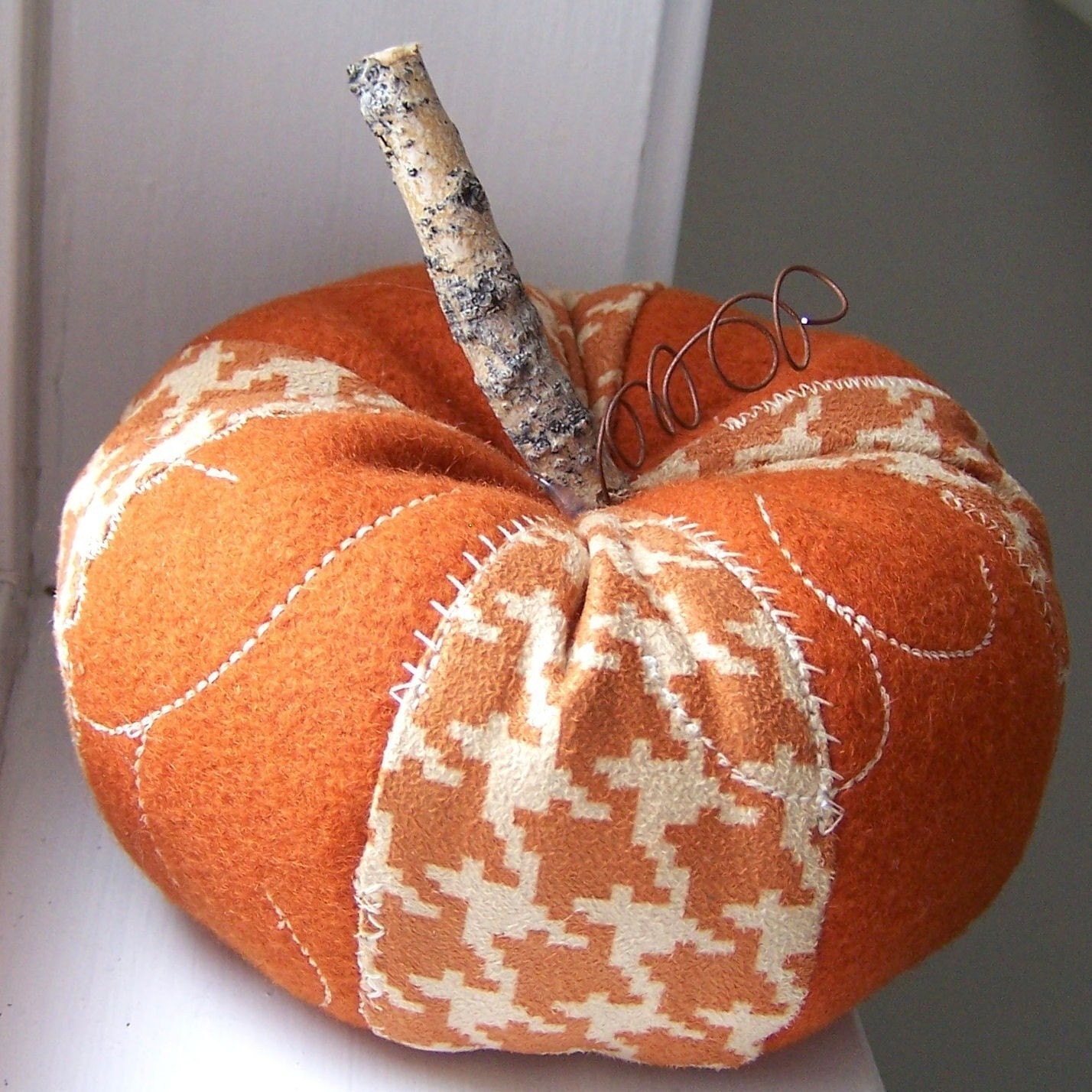 Rustic Houndstooth and Wool Pumpkin