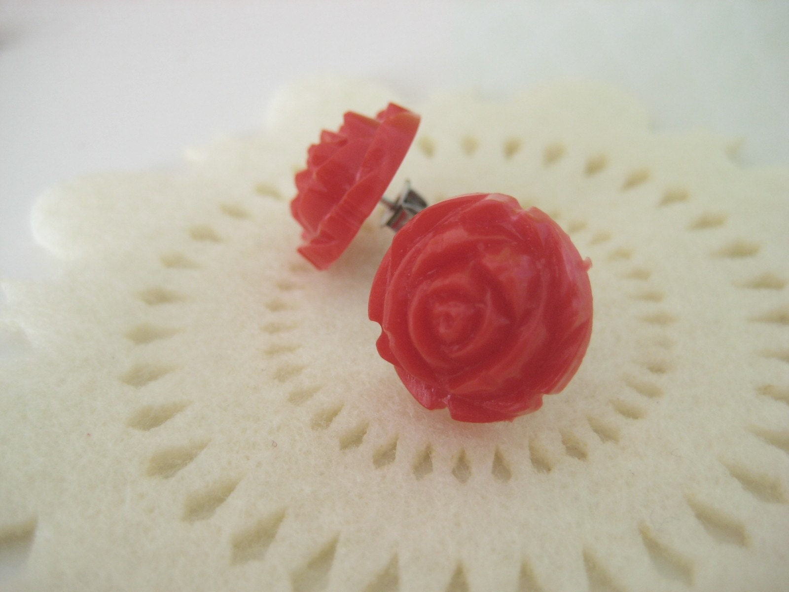 SALE Red carved rose earrings
