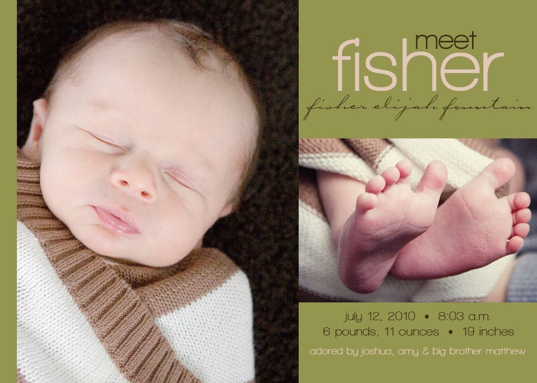 Fisher - a custom photo birth announcement for your baby boy or girl