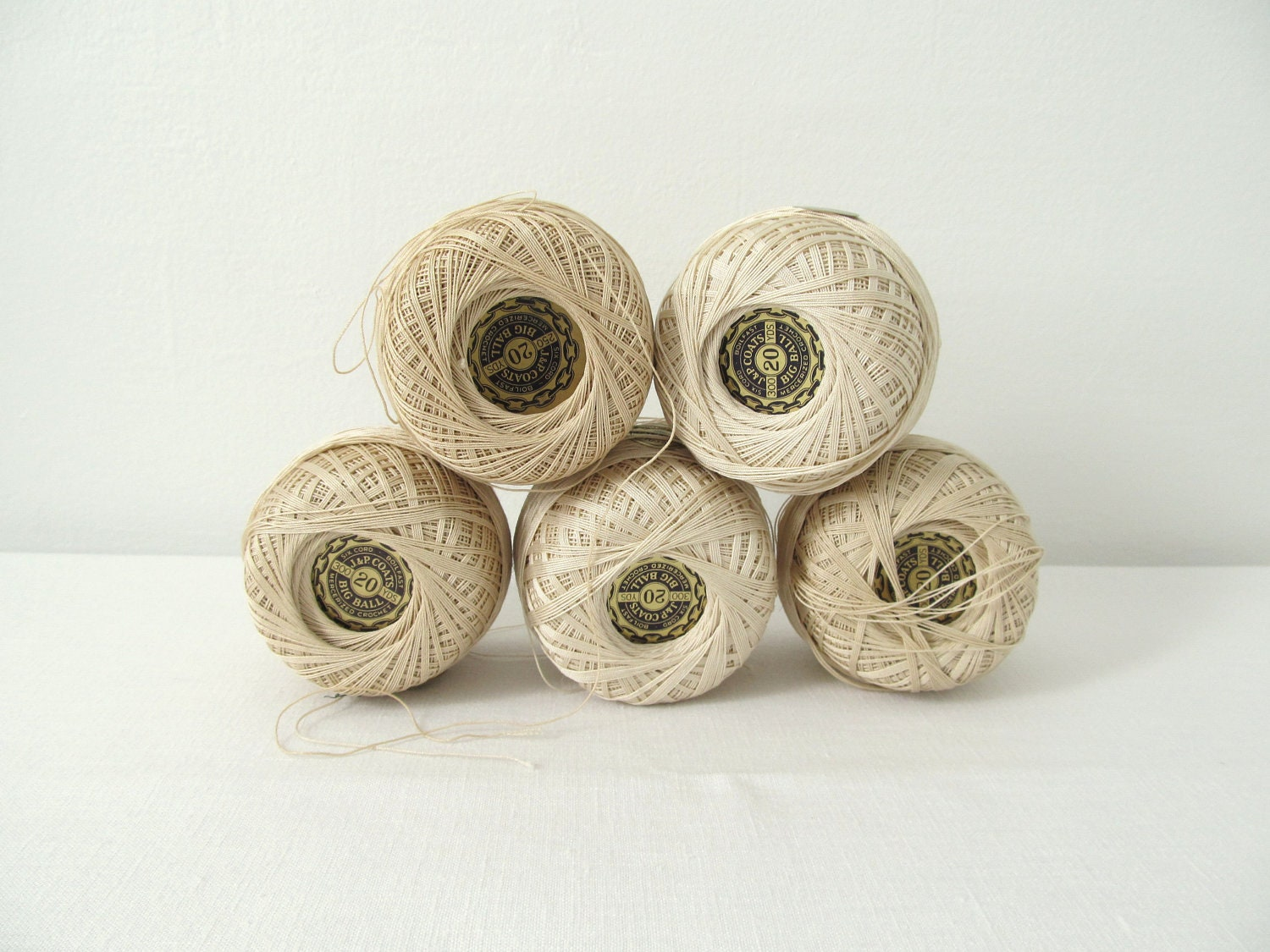 Five Balls of Vintage Crochet Cotton - allthingswhite