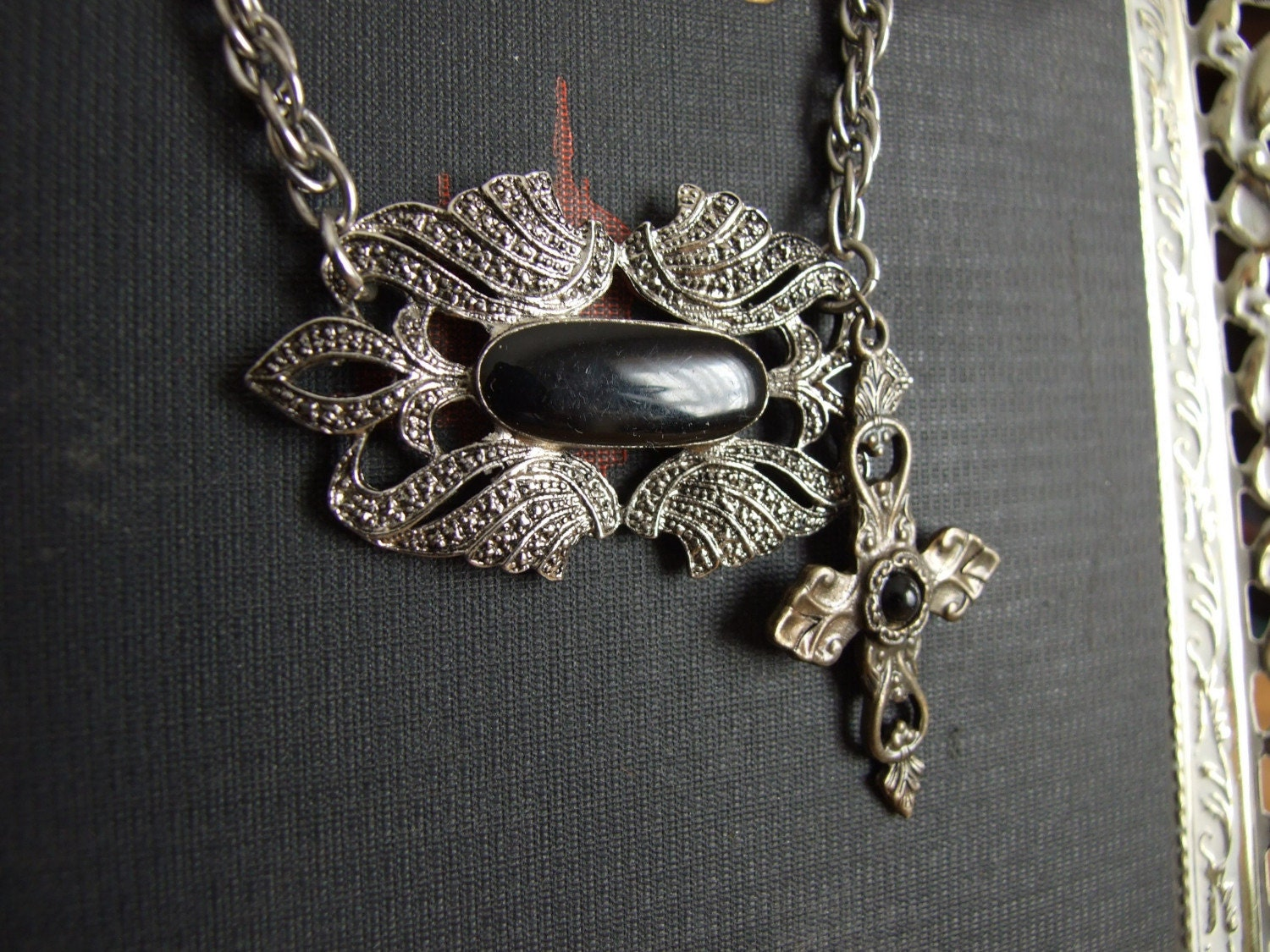 Silver and Black Revamped Vintage Necklace