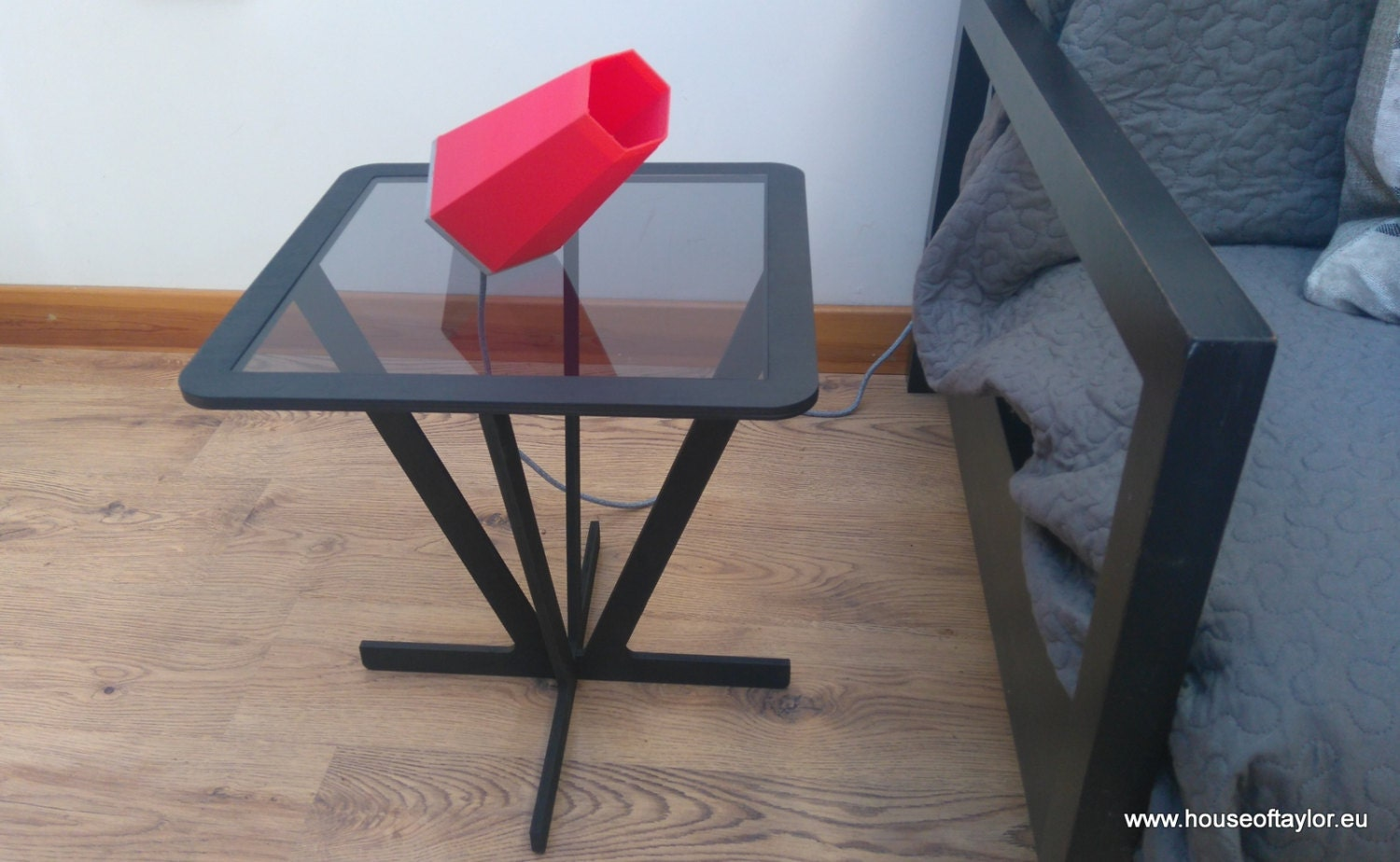 Square side table with acrylic glass top made from Birch Plywood in black stain.