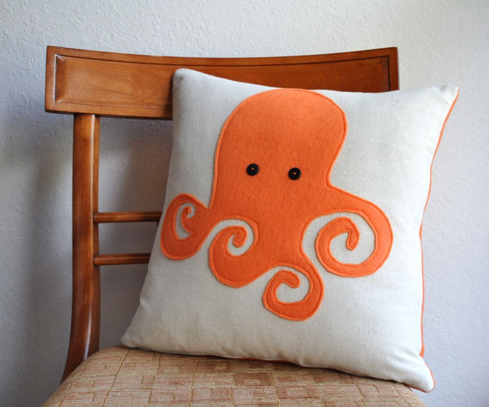 Octopus Organic Cotton and Felt Pillow Cover