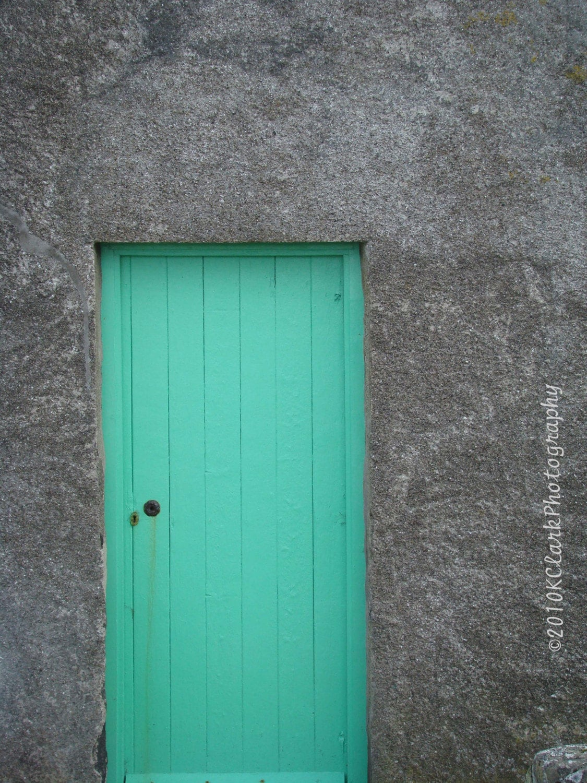 Aqua Scottish Door  8x10 signed photo scotland stone cottage teal blue green minimal decor feminine gray - KClarkPhotography