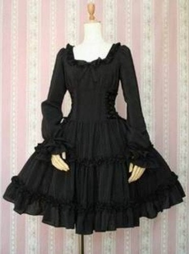 J275 Lady's lolita gothic black dress bell bottom sleeve victorian retro custom - angelssecret