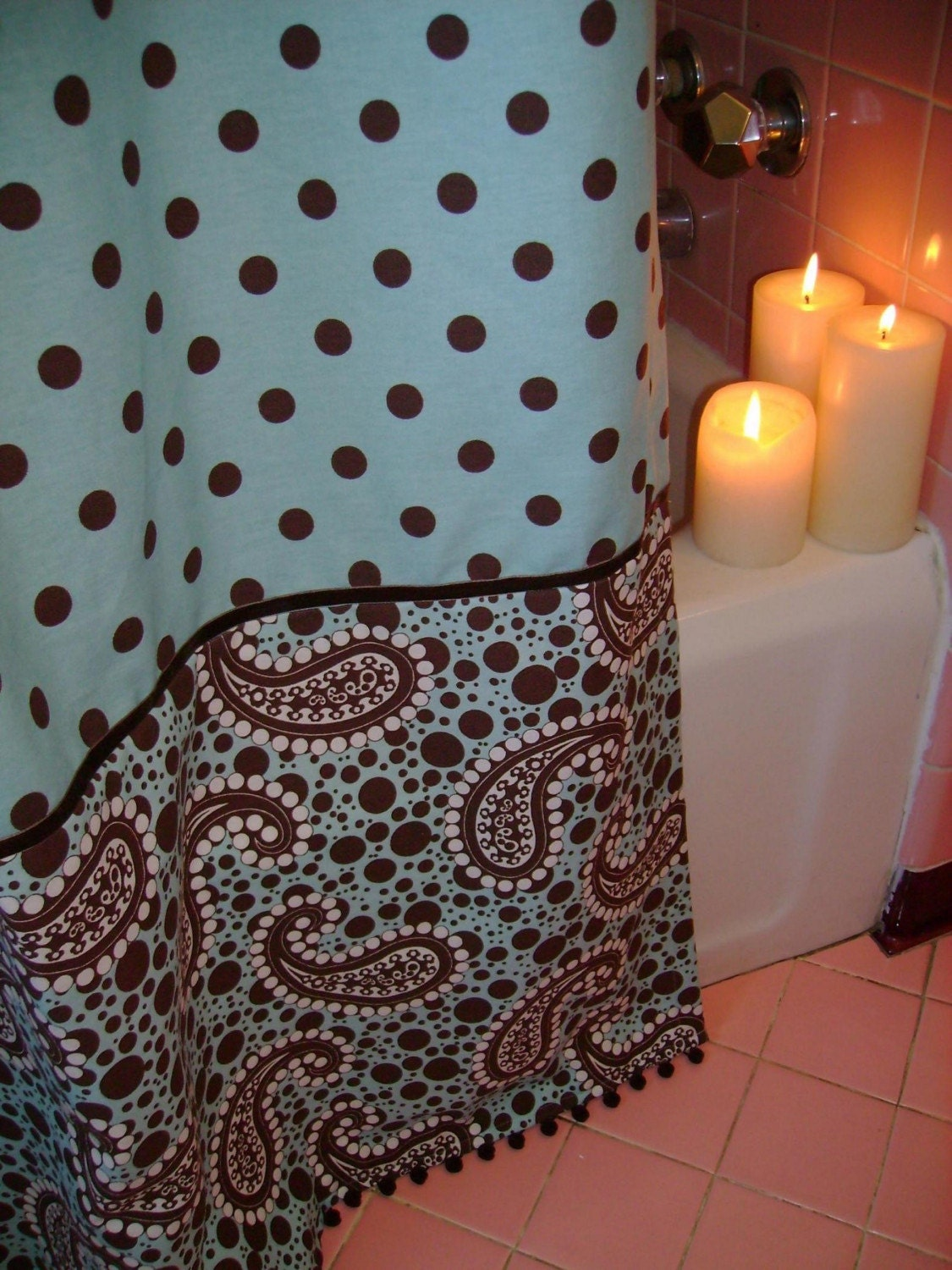 Aqua/Brown Polka Dot Shower Curtain