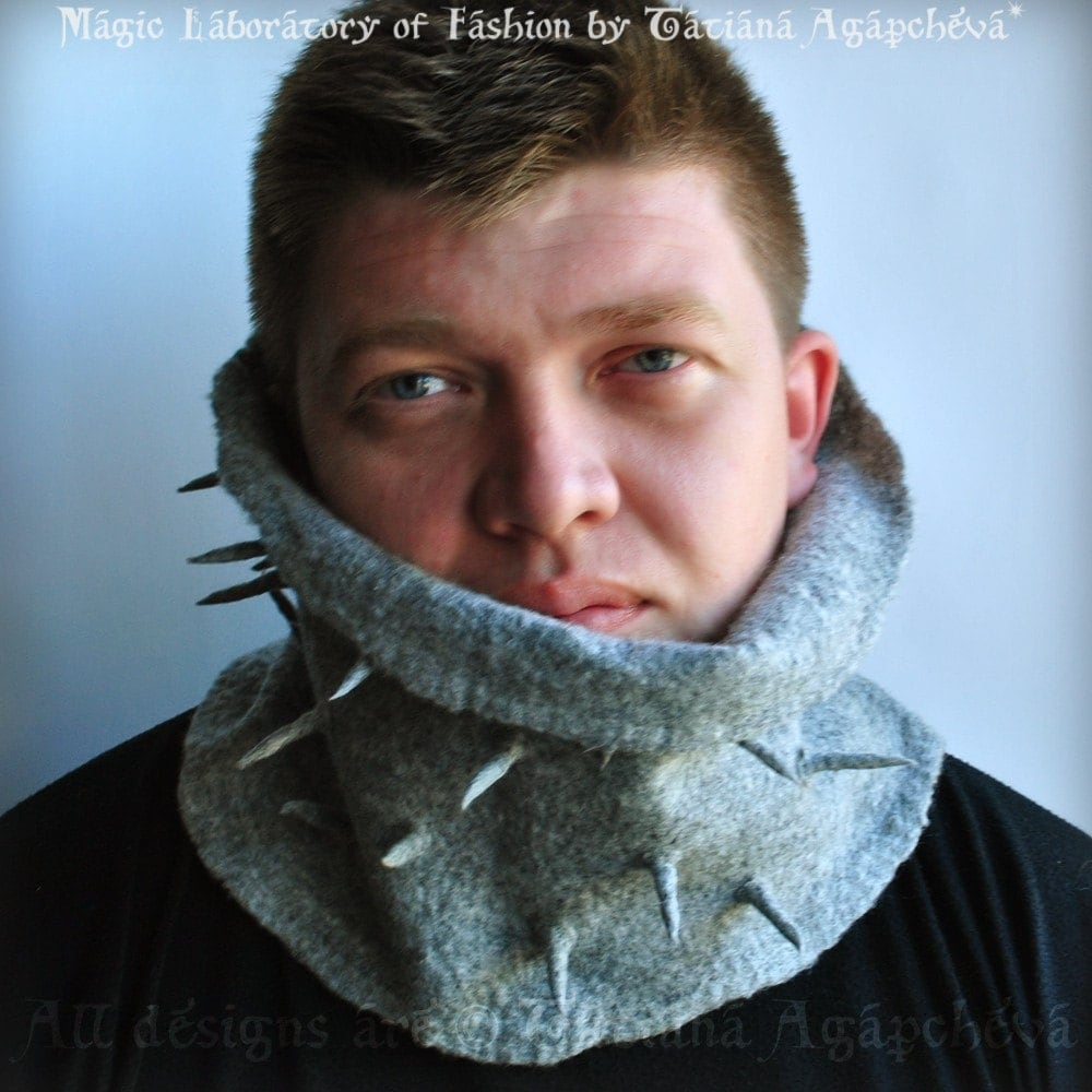 For HIM Spears Urban Military Designer Men Natural Gray Merino Felted Cowl/Scarf/Neckwarmer New Homme Collection 2011 Front Page Featured Free Shipping
