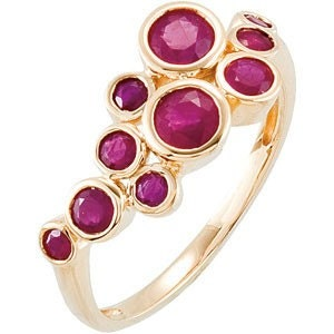14kt Yellow Gold and Genuine Madagascar Ruby Ring - 2,2.5,3,4mm Stones