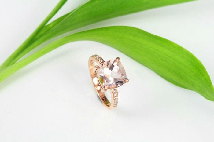 Engagement Ring - 3 Carat Morganite Ring With Diamonds In 14K Rose Gold