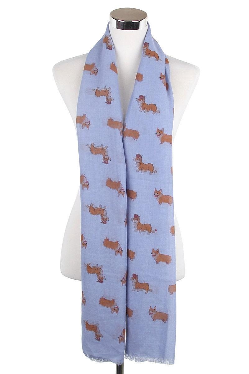 Welsh Royal Corgi Dog Large Soft Blue Scarf With a Fringe Gift for Dog Lover