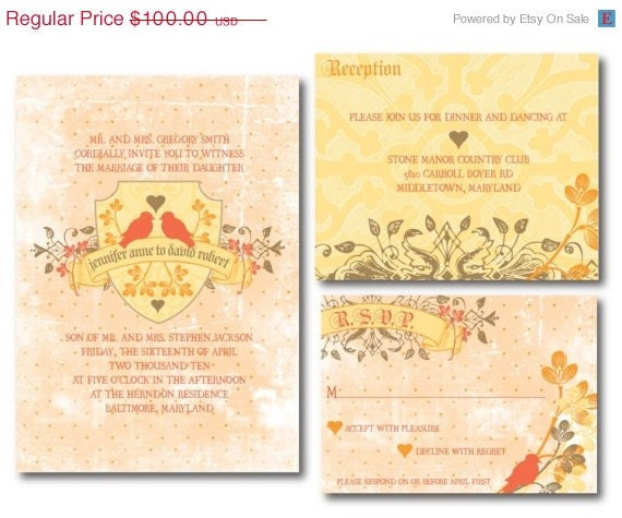 ON SALE Lisette Invitation Set (Digital Files) (YOU Choose The Colors)