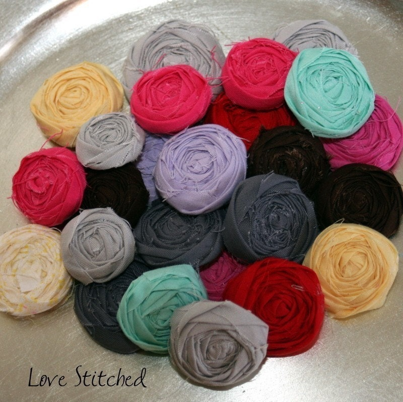 COURTNEY - petite fabric rosette earrings - you pick the color