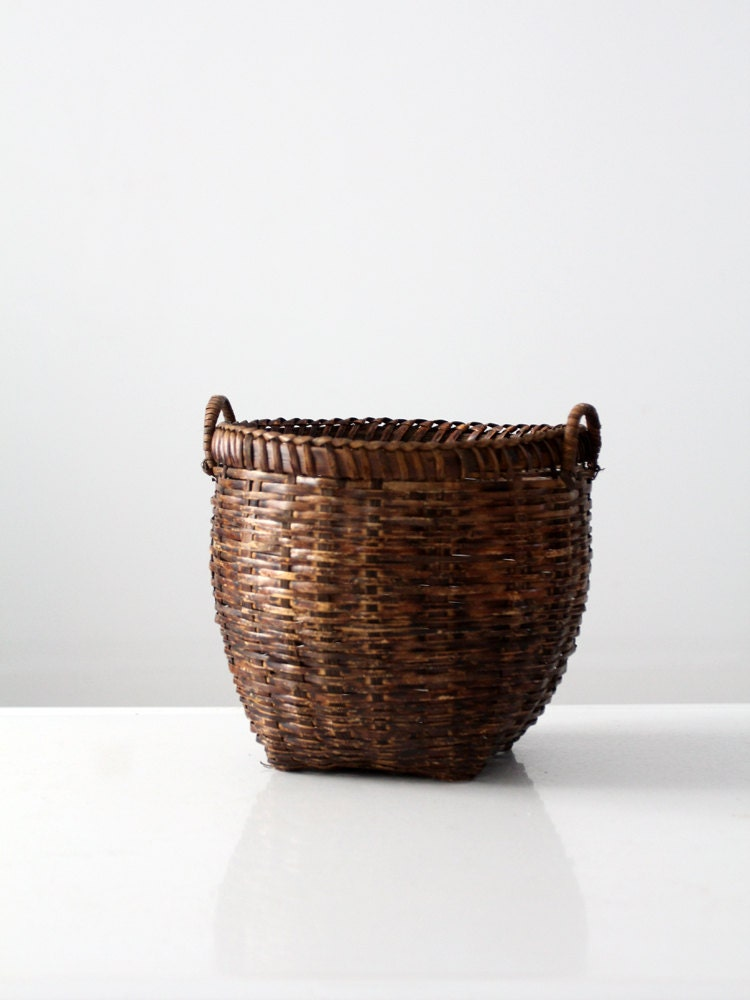 Tiny Wicker Basket With Handle : Vintage basket small woven handle by home on etsy