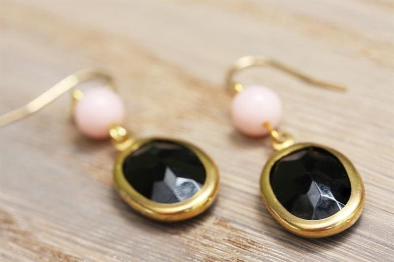 BLACK and PINK Goldfilled Earrings